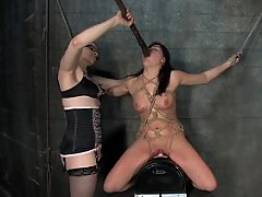 Girl in extreme bondage and SM.